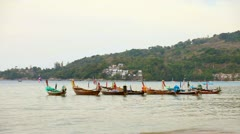 1920x1080 video - traditional decorated wooden thai boats Stock Footage