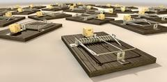 mousetraps with cheese array close - stock illustration