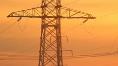 High voltage towers at sunset Stock Footage