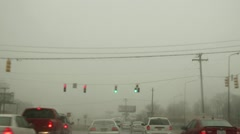 Snowy foggy dangerous driving conditions 4 Stock Footage