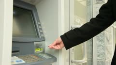 Woman Taking Money From ATM Machine Stock Footage