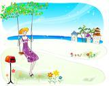 Attractive Woman in Beach Stock Illustration