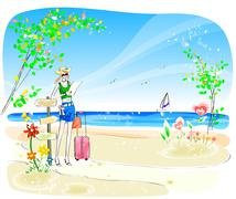 Attractive Woman in Beach - stock illustration