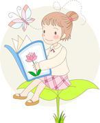 little girl reading - stock illustration