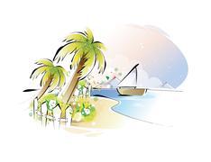 beach - stock illustration