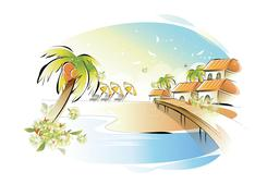 beach - stock illustration