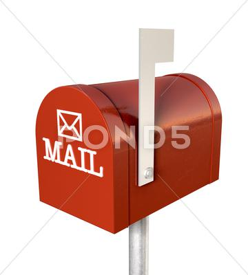 Stock Illustration of old school retro red mailbox