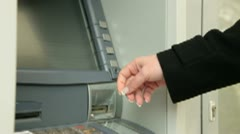 Businesswoman Withdrawing Money From ATM Machine - stock footage