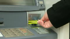 Stock Video Footage of Withdrawing Money From ATM Machine
