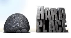 Caught between a rock and a hard place Stock Illustration