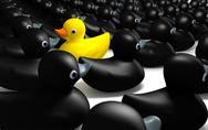 Rubber duck against the flow Stock Illustration