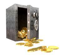 Safe spilling coins perspective Stock Illustration