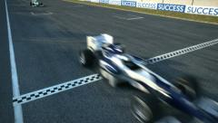 F1 racecars crossing finishing line - static cam Stock Footage