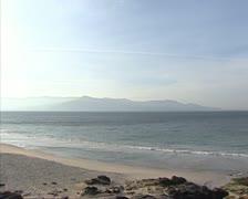 Atlantic Ocean at Costa Morte, Galicia, Spain - pan bay. Stock Footage