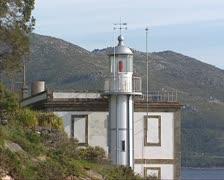 Lighthouse Monte Louro at Punta Queixal Stock Footage