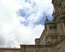 Tilt up Cathedral Santiago de Compostela  facade Stock Footage