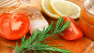 Stock Video Footage of sea food : roasted pink salmon fillet with chinese onioncherry tomatoes