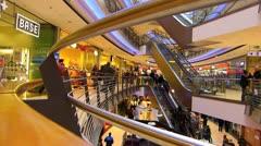 Germany Stuttgart Konigsbau Kings shopping arcade mall escalator Stock Footage