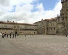 Obradoiro square + crane Cathedral of Santiago Stock Footage