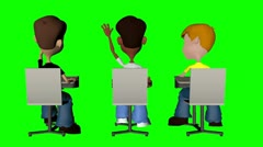 Boys in class raising hands from behind Stock Footage