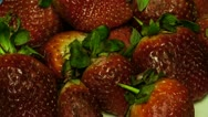 Strawberry: Plate of strawberries time lapse - top view close up Stock Footage