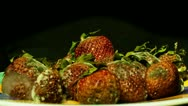 Strawberry: Plate of strawberries time lapse - front view close up reverse Stock Footage