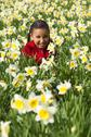 Young child playing fun in the flowers Stock Photos