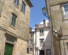 Narrow street in medieval town of Santiago de Compostela Stock Footage