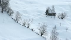 Lost lonely house in the beautiful winter landscape Stock Footage