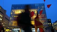 T/L Germany Stuttgart Kunstmuseum Museum of Art at dusk Stock Footage