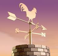 weathervane cockerel chimney dawn - stock illustration