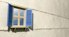 Window with blue shutters perspective Stock Illustration