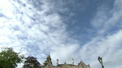 English Manor House Tilt from blue sky Stock Footage