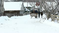 Sleigh with horse passing on a village snowed road and domestic animals coming Stock Footage