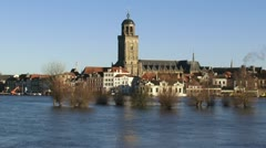 Deventer skyline - high water level in river IJssel, the Netherlands Stock Footage