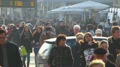 Germany Stuttgart Crowds shoppers in Konigstrasse shopping street Stock Footage