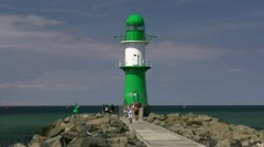 Lighthouse in Warnemünde - Baltic Sea, Northern Germany Stock Footage
