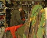 Man selling cloth in Nicosia, northern Cyprus Stock Footage
