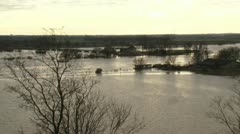 Inundated floodplains of River Rhine at Wageningen, The Netherlands Stock Footage