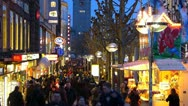 Stock Video Footage of T/L Germany Stuttgart Crowds shoppers in Konigstrasse shopping street