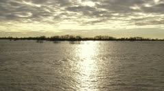 Inundated floodplains of River Rhine at Renkum, Benedenwaard Stock Footage