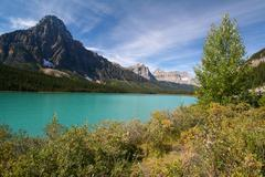 Waterfowl lakes at the banff national park Stock Photos