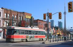 Stock Photo of toronto chinatown and streetcar