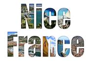 Stock Illustration of nice, france with different tourist spots