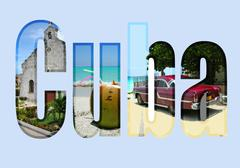 Cuba with different tourist spots Stock Illustration