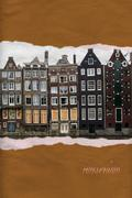 Amsterdam houses ripped paper postcard Stock Illustration