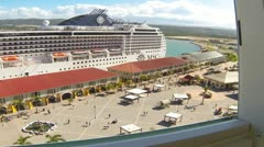 HD Stock Footage 1080p - Cruise Ship in Jamaica port- motion  Time Lapse Stock Footage