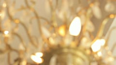 806. focus change on a golden chandelier Stock Footage