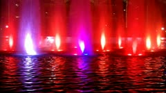 Color Changing Fountain Jets And Reflecting Pool At Night Close Up Stock Footage