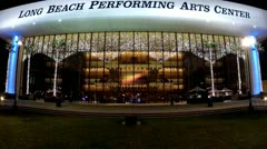 Long Beach Performing Arts Center Front Facade Wide Angle- Night Stock Footage